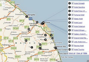 Map of hotels in the region of Le Marche in Italy